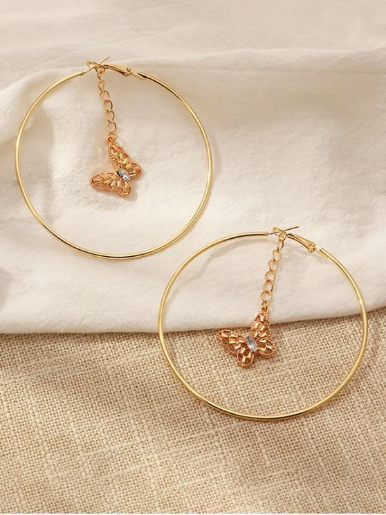 women Hollow Butterfly Pendant Hoop Earrings - GOLDEN
