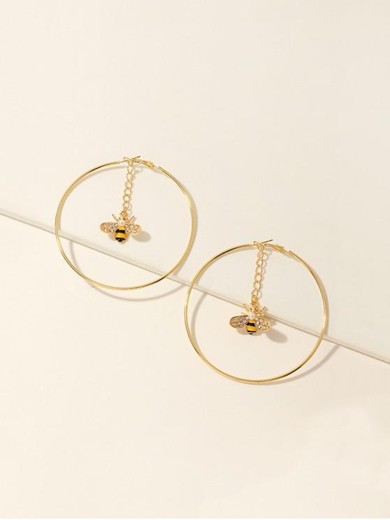 women's Bee Rhinestone Hoop Earrings - GOLDEN