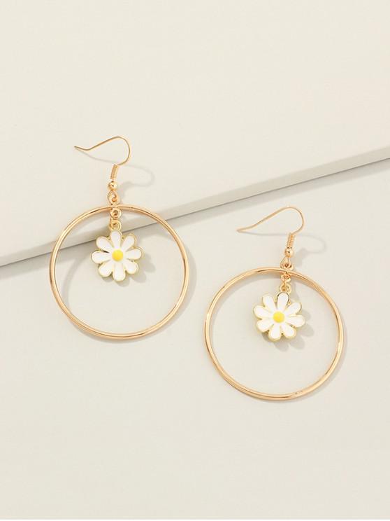 ladies Daisy Flower Circle Dangle Earrings - GOLDEN