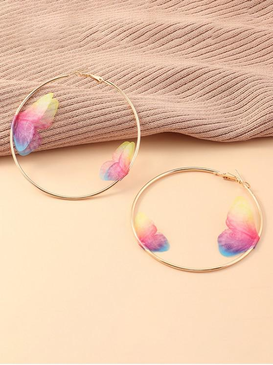 online 3D Butterfly Hoop Earrings - MULTI-A