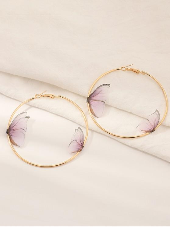 new 3D Butterfly Hoop Earrings - LIGHT PINK