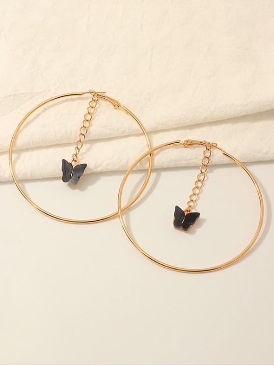 outfit Butterfly Acrylic Pendant Hoop Earrings - BLACK