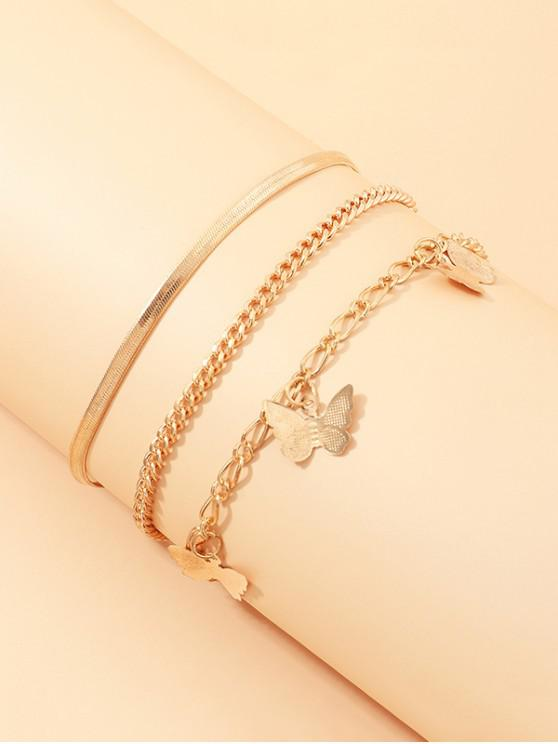 affordable 3Pcs Butterfly Chain Anklets Set - GOLDEN