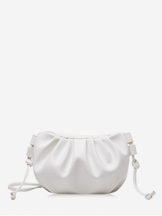 women's Pure Color Pleated Leather Sling Bag - WHITE