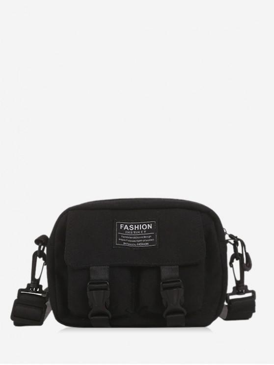 best Multi-pockets Canvas Mini Crossbody Bag - BLACK