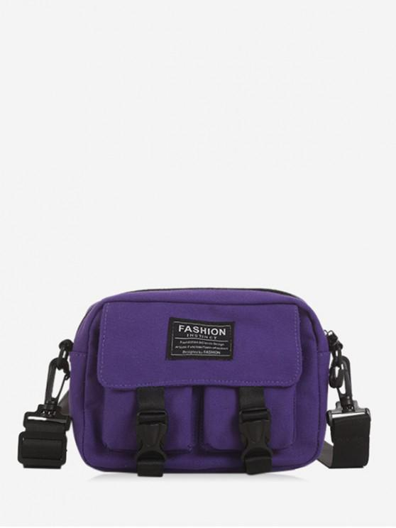 online Multi-pockets Canvas Mini Crossbody Bag - PURPLE