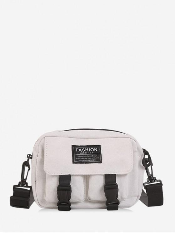 hot Multi-pockets Canvas Mini Crossbody Bag - WHITE