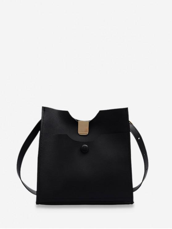 women Pure Color Leather Sling Bucket Bag - BLACK