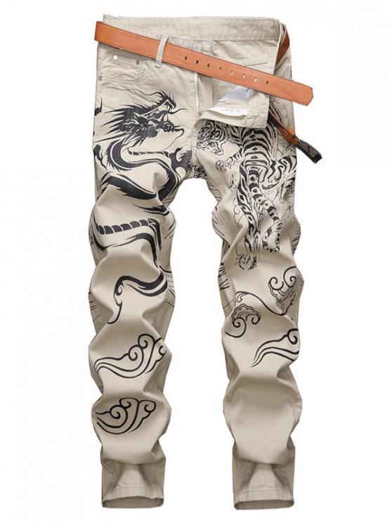 Animal Graphic Lounge Pencil Denim Pants - أسمر 34