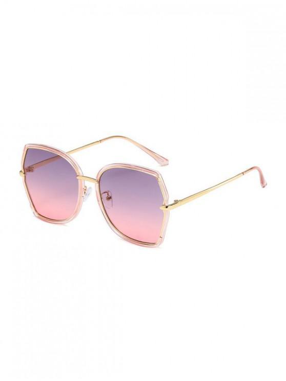 hot Retro Ombre Irregular Sunglasses - PIG PINK
