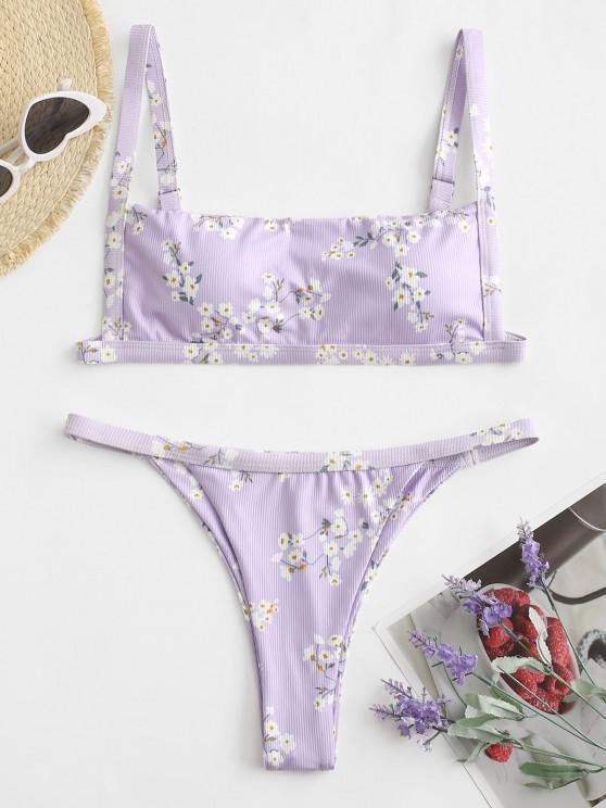 fashion ZAFUL Ribbed Flower High Leg Bikini Swimwear - PURPLE M