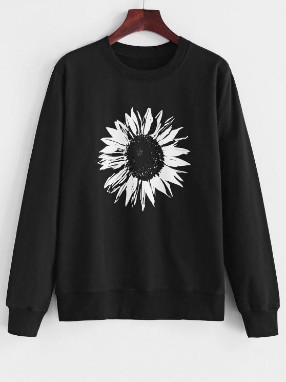 new Crew Neck Sunflower Print Sweatshirt - BLACK S