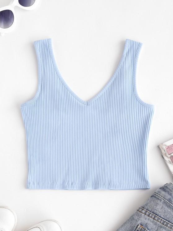 fashion V Neck Solid Ribbed Crop Top - POWDER BLUE XS