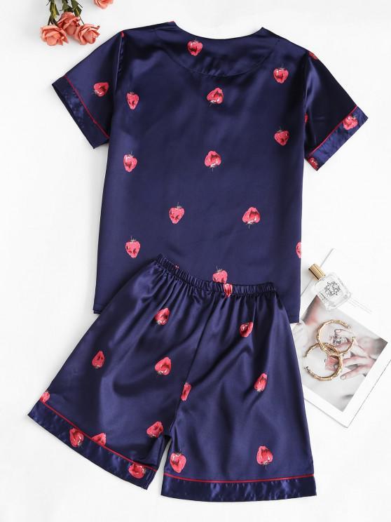 Strawberry Print Satin V Neck Pajama Shorts Set - Deep Blue 2xl | ZAFUL