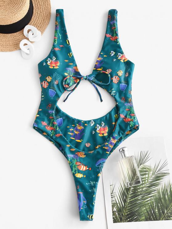 sale ZAFUL Marine Organism Print High Cut Thong One-piece Swimsuit - DEEP GREEN M