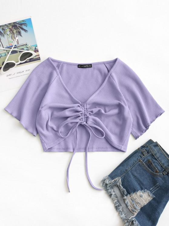 sale ZAFUL Textured Cinched Tie Raglan Sleeve Top - LIGHT PURPLE M