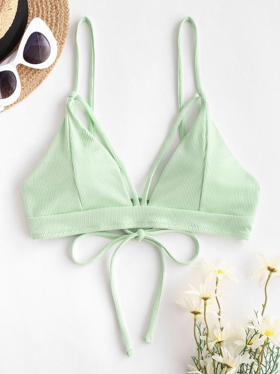 women ZAFUL Ribbed Cutout Tie Back Bikini Top - LIGHT GREEN S