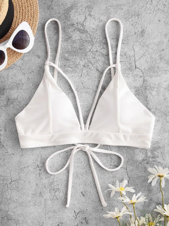 ZAFUL Bikini Top Recortado Acanalado con Nudo y Nudo - Blanco S
