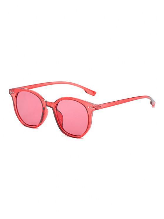 unique Retro Rivet Round Sunglasses - BEAN RED