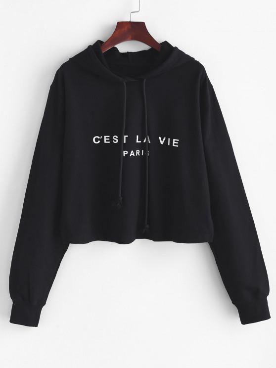 Boxy Paris Graphic Hoodie - أسود M