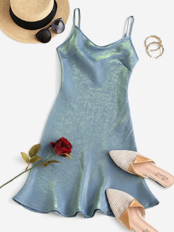 trendy Cami Cowl Front Shiny Mini Dress - BLUE S