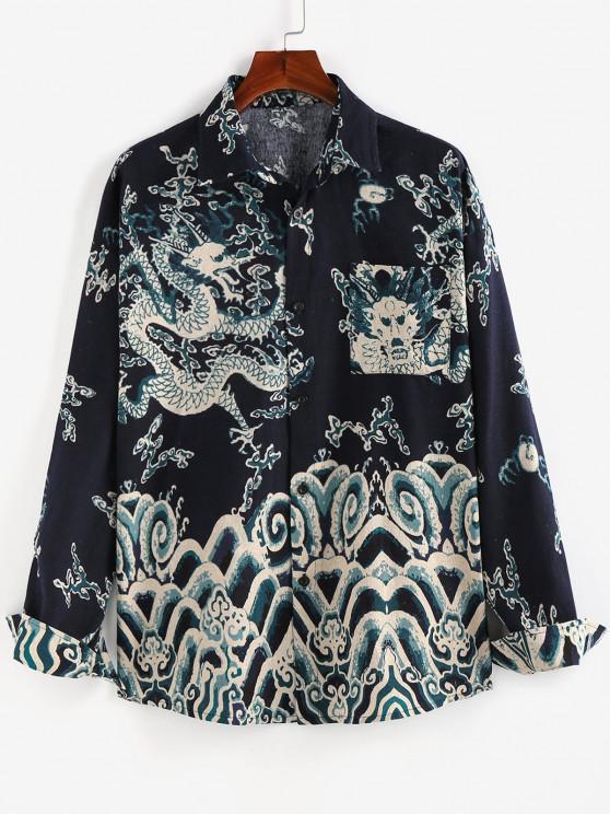 lady ZAFUL Oriental Dragon Print Pocket Patch Shirt - DEEP BLUE L