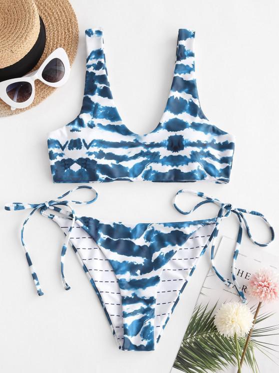 ZAFUL Tie Side Tie Dye Tank Bikini Swimwear - أزرق S