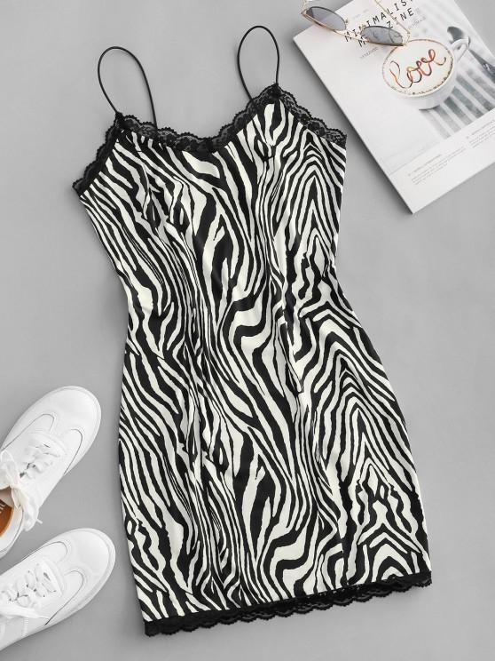 outfits ZAFUL Zebra Print Bungee Strap Lace Insert Bodycon Dress - BLACK M