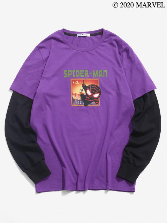 chic Marvel Spider-Man Graphic Faux Twinset T-shirt - DARK ORCHID S