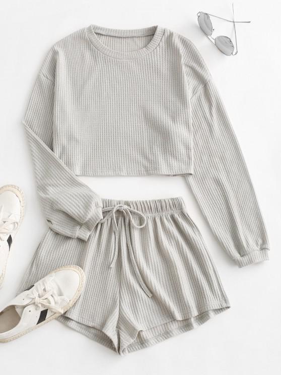 lady Knitted Drop Shoulder Drawstring Shorts Set - LIGHT GRAY S