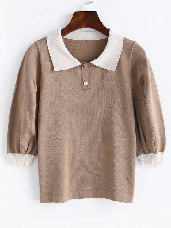 Puff Sleeve Colorblock Knit Top - القهوة الخفيفة حجم واحد