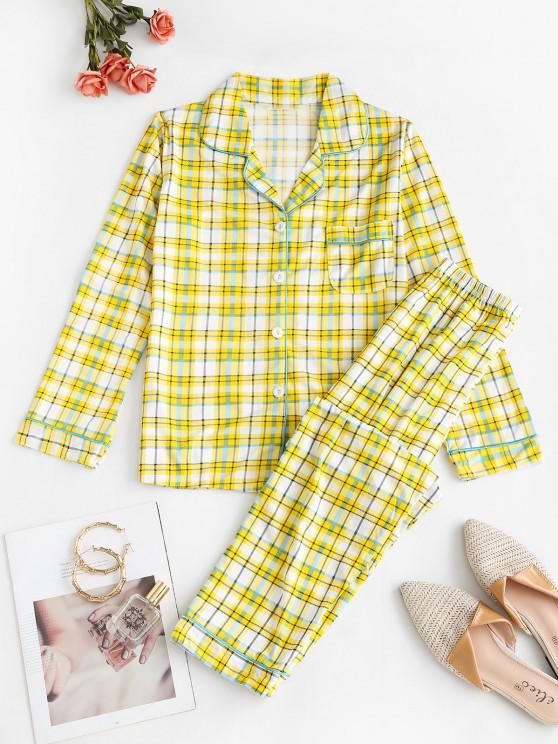 Conjunto de Pijama a Cuadros con Bolsillo y Solapa - Amarillo M