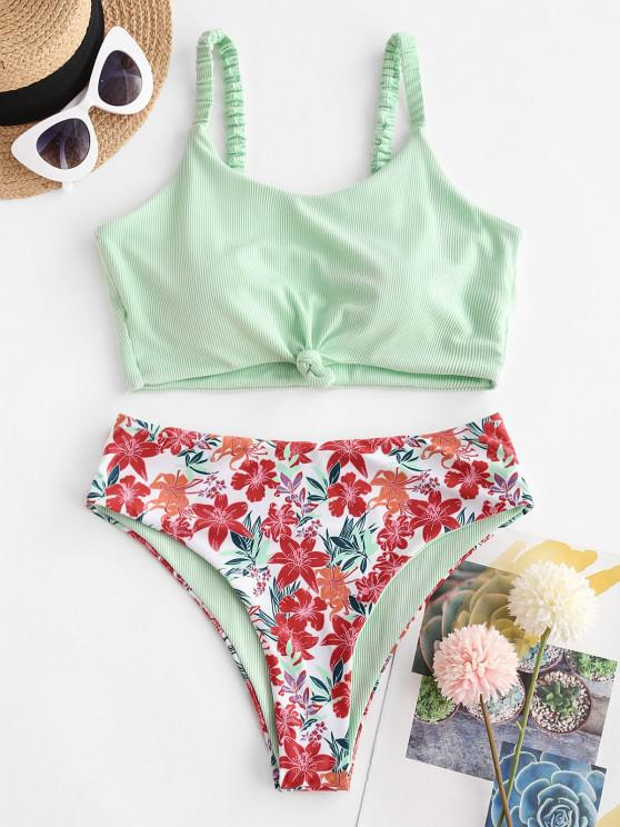 best ZAFUL Ribbed Flower Print Knotted Tankini Swimwear - LIGHT GREEN S