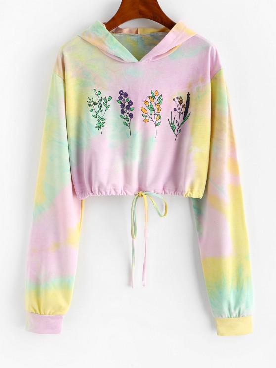 online Tie Dye Flower Print Drawstring Crop Hoodie - LIGHT PURPLE L