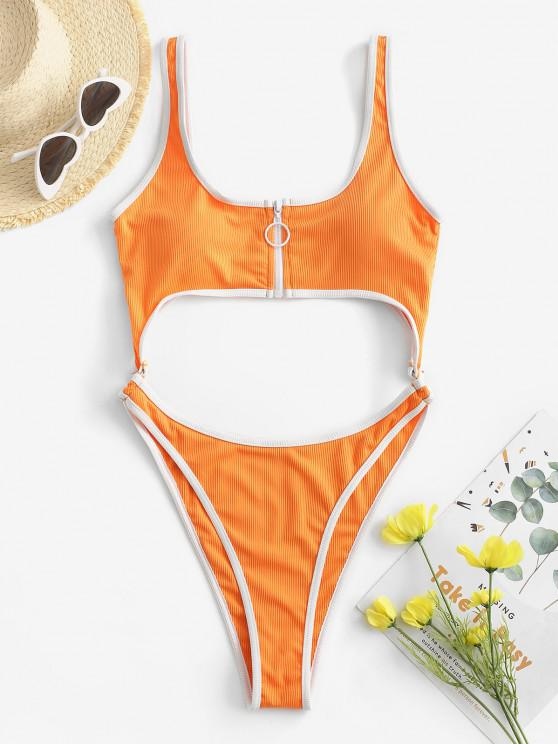 outfit ZAFUL Ribbed Cutout Zip Contrast Trim One-piece Swimsuit - ORANGE S