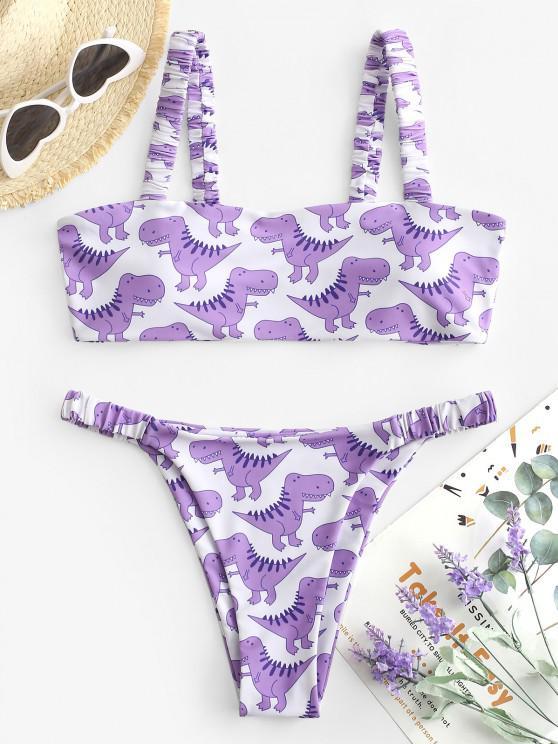trendy ZAFUL Dinosaur Print High Leg Elastic Strap Bikini Swimwear - LIGHT PURPLE M