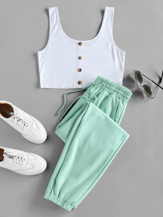 new ZAFUL Crop Top and Drawstring Jogger Pants Set - LIGHT GREEN XL