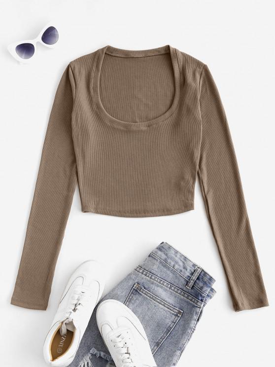 Blusa de mangas compridas com nervuras - Café M