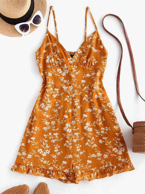 shops ZAFUL Floral Ruffle Smocked Wide Leg Cami Romper - YELLOW L