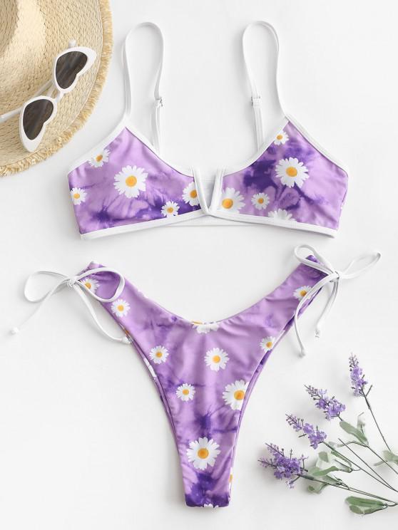 ladies ZAFUL Daisy Print Tie Dye V-wired High Cut Bikini Swimwear - LIGHT PURPLE S