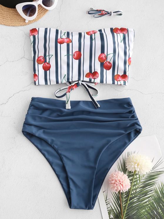 womens ZAFUL Cherry Striped Lace-up Ruched Bandeau Tankini Swimsuit - DEEP BLUE XL