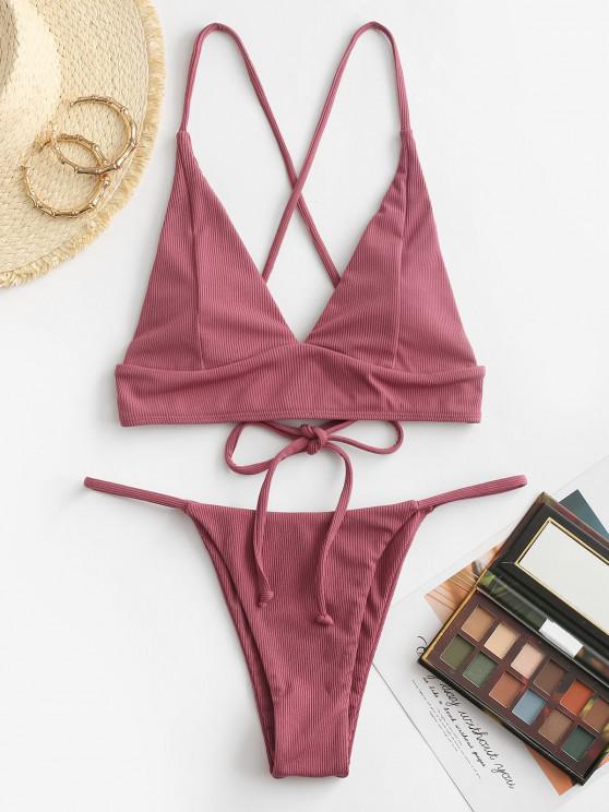 outfit ZAFUL Ribbed Lace-up Fuller Bust Tanga Bikini Swimwear - LIGHT PINK S