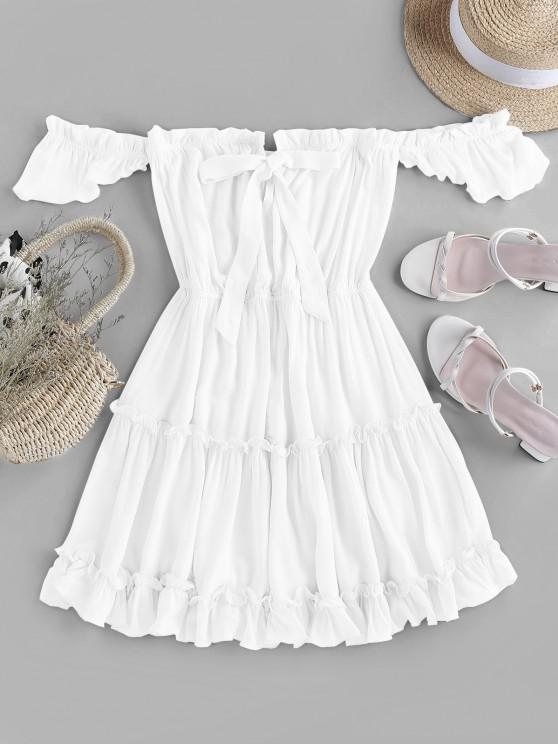 women ZAFUL Off Shoulder Bowknot Ruffle Dress - WHITE S