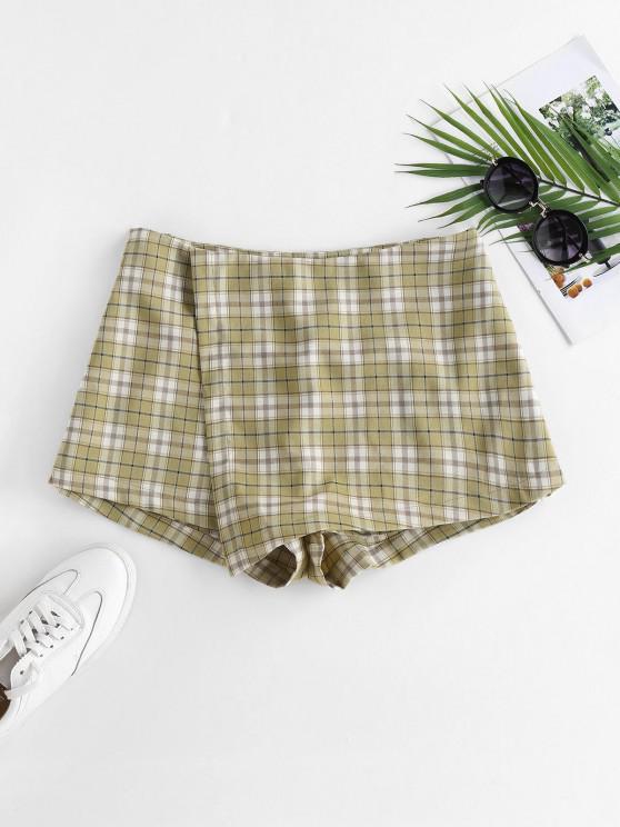 best ZAFUL Plaid Overlap Shorts - LIGHT GREEN M