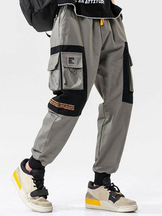 Two Tone Flap Pockets Drawstring Cargo Pants - رمادي فاتح L