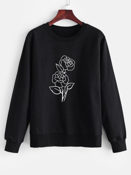 Crew Neck Rose Print Sweatshirt - أسود M