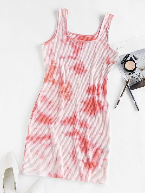 ZAFUL Ribbed Tie Dye Bodycon Tank Dress - وردي فاتح L