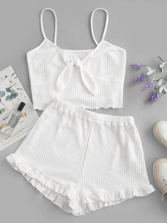 unique ZAFUL Knitted Tied Ruffle Pajama Shorts Set - WHITE XL