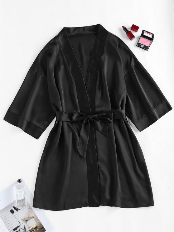 women's ZAFUL Satin Drop Shoulder Belted Pajama Robe - BLACK L