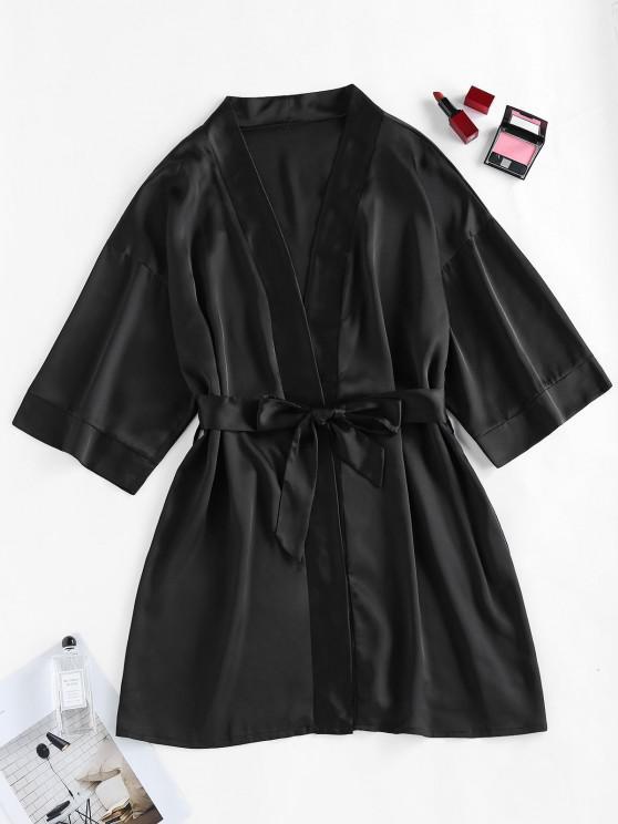 women ZAFUL Satin Drop Shoulder Belted Pajama Robe - BLACK M